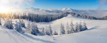 Panorama Of Winter Mountains