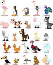 Набор милый мультфильм животных и птиц