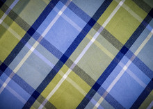Blue And Green Checked Fabric