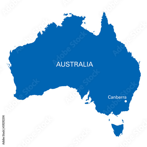 Australia Map Canberra.Blue Map Of Australia With The Position Of Canberra Buy This Stock