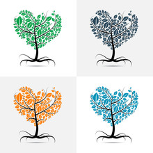 Vector Heart Shaped Tree With ...