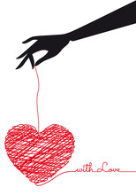 Hand Holding Red Scribble Heart, Vector