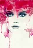 Śliczna kobieta. akwarela ilustracja - 59301559