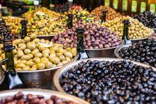 Assortment Of Olives On Market,Tel Aviv,Israel
