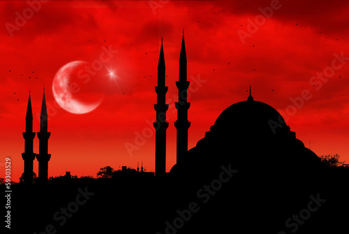 Photo  Mosque silhouette as the turkish flag during sunset