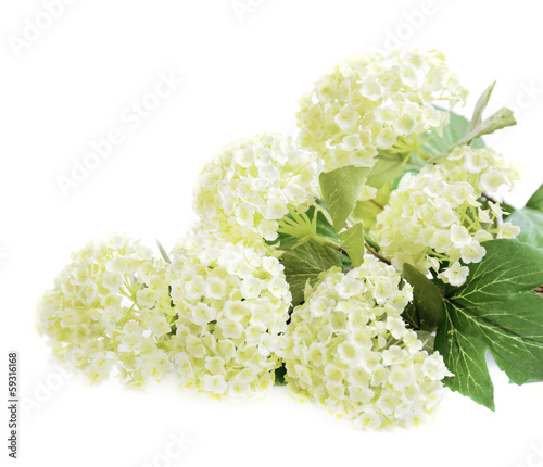 Wall Murals Hydrangea Bouquet of beautiful artificial flowers, isolated on white
