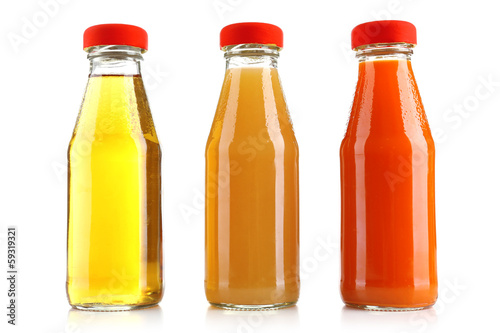 Poster Sap Baby food (juices) in glass jars, isolated on white