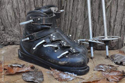 Poster Retro anciennes chaussures de ski
