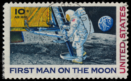 UNITED STATES - CIRCA 1969: A stamp printed in USA shows Neil Ar Canvas Print
