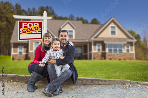 Fotografie, Obraz  Mixed Race Family, Home, Sold For Sale Real Estate Sign