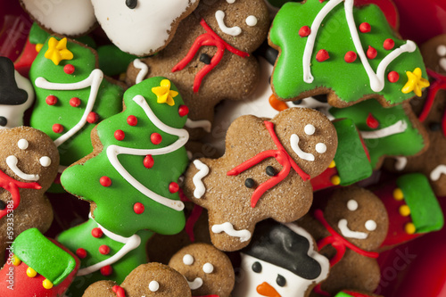Photo  Traditional Iced Gingerbread Christmas Cookies
