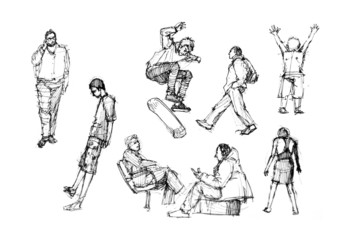human figure drawing in different activities