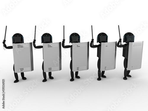 Fényképezés  Policemans with a truncheon #1