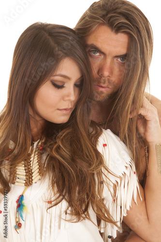 Couple Long Hair Man Behind Native American Woman Close Buy This