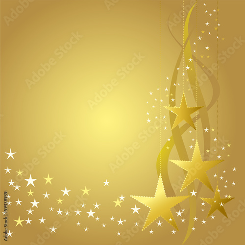 Poster Retro Gold Christmas decoration with stars