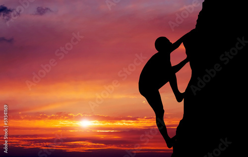 Fototapety, obrazy: Rock climber at sunset background. Sport and active life