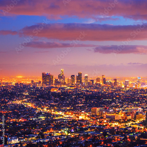 Photo  Los Angeles city skyline sunset night