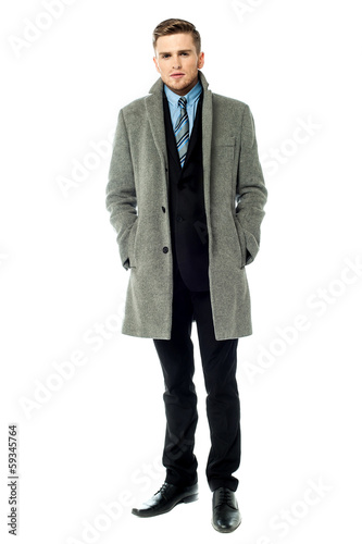 Fotografie, Obraz  Corporate guy wearing long overcoat