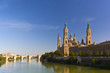 Basilica del Pilar in a bright sunny day on a background of blue