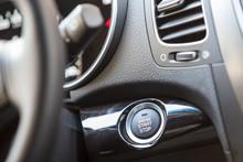 Car Interior, Engine Start Button Under Steering Wheel
