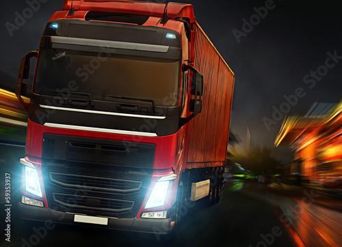 obraz PCV Ciężarówka noc