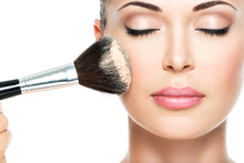 Woman  Applying Dry Cosmetic T...