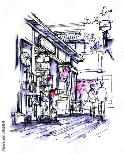japanese shop front drawing