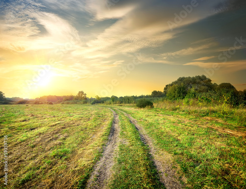 Fotobehang Zwavel geel Sunrise and road in the field