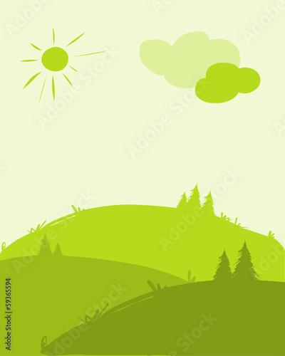 In de dag Lime groen Green hills, landscape for your design