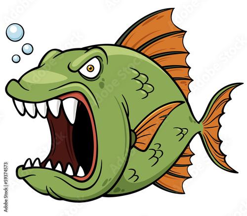 Fotografia, Obraz  Vector illustration of angry fish cartoon