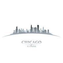 Chicago Illinois City Skyline Silhouette White Background