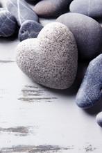 Grey Stone In Shape Of Heart, ...