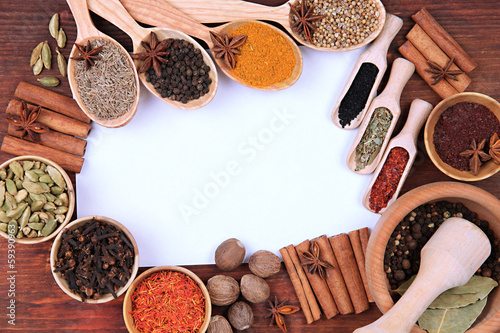 Photo Stands Herbs 2 Various spices and herbs with empty white blank for recipe
