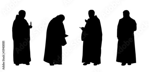 Fotomural christian monks silhouettes set 1