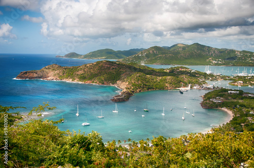 Foto op Plexiglas Caraïben Falmouth bay - View from Shirley Heigths, Antigua
