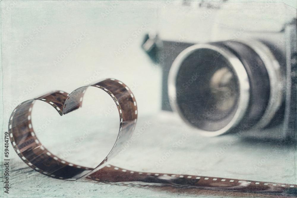 Fototapety, obrazy: Heart shaped from film negative