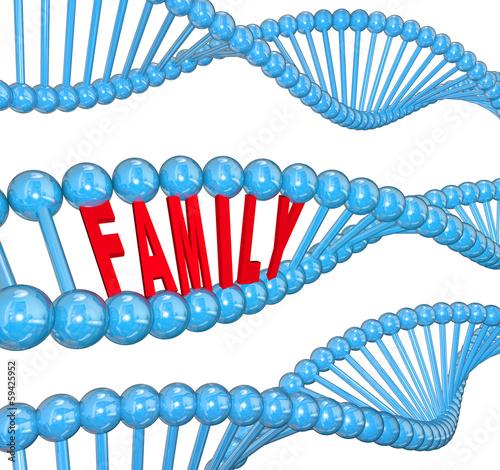 Family Word DNA Strand Biology Hereditary Traits Wallpaper Mural
