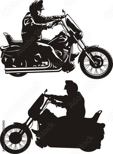 Poster Motocyclette man riding a motorcycle