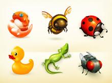 Cartoon Characters, Vector Icons Set