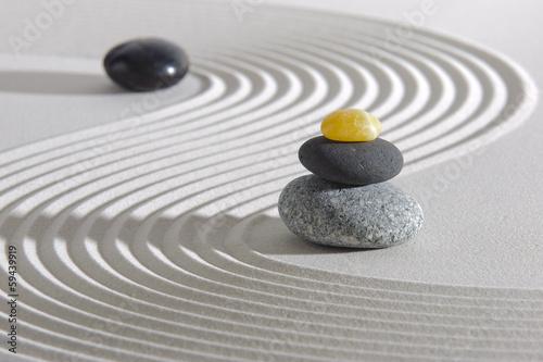 Acrylic Prints Stones in Sand Japan zen garden with stones in raked sand