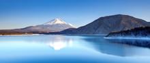 Mt. Fuji And Motosu Lake In Winter Season