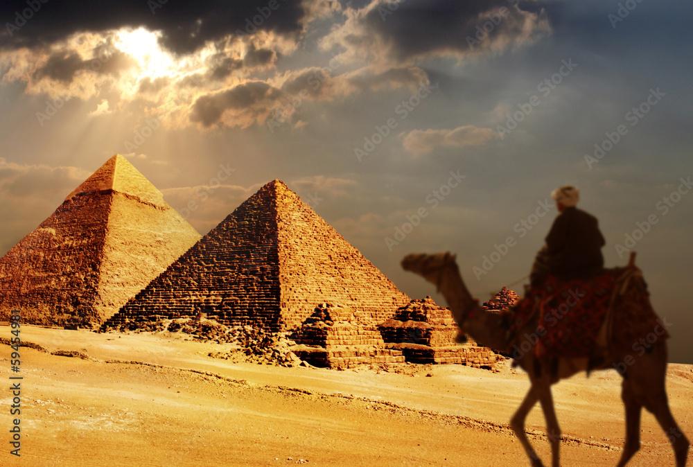 Fototapeta giza pyramids, cairo, egypt
