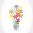 puzzle piece light idea bulb. illustration design