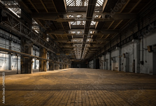 Acrylic Prints Old abandoned buildings Large industrial hall of a repair station