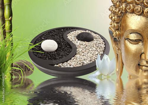 Photo sur Plexiglas Zen pierres a sable composition zen, Bouddha, yin yang, bambou