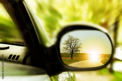 fototapeta na drzwi i meble Zachód słońca na samotnej drodze krajowej