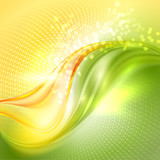 Abstract green and yellow waving background