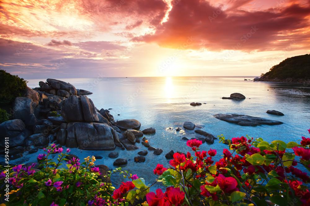 Fototapeta Tranquil beach resort, beautiful morning glory on the Koh Samui,