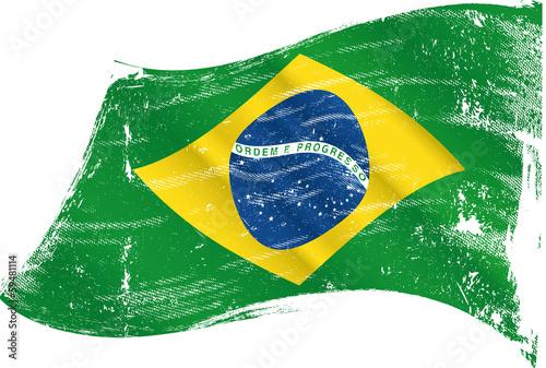 Fotografie, Obraz  brazilian flag grunge