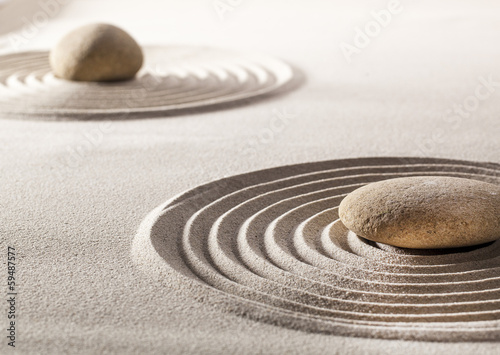 Fotobehang Stenen in het Zand zen balance with stones and sand